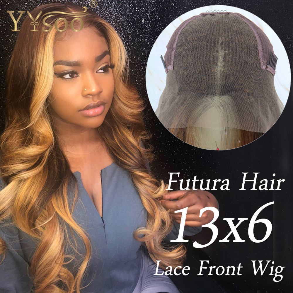 YYsoo Long Blonde Baylayage Color Futura Synthetic Lace Front Wigs13x6 Japan Fiber Blonde Highlight Wavy Wig 6inch Deep Parting