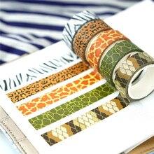 Washi tape-juego de pegatinas de 5 rollos, washi tape de leopardo Kawaii, scrapbook, cinta adhesiva decorativa de 5 m