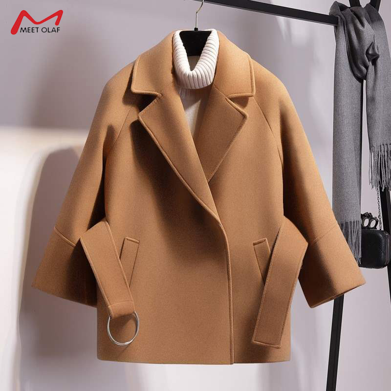 2019 Autumn Winter Women Short Woolen Coat New Fashion Cape Coat Female Belt Jacket Black Khaki Apricot Plus Size CA3498