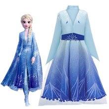 Детский Рождественский Косплэй Анны и Эльзы 2 принцесса платье для девочки вечернее платье для девочек, набор Косплэй с изображением принцессы Эльзы детское Платья принцесс для праздников и дней рождения Волшебная палочка Корона