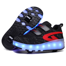 Led Shoes Sneakers Roller Led-Light Two-Wheels Usb-Charging Luminous-Glowing Black Girls