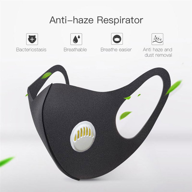 PM2.5 Washable Mouth Mask Anti Haze Dust Mask Nose Filter Windproof Face Anti Bacteria Flu Ice Silk Cotton Respirator 1