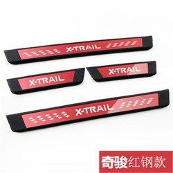 Car styling dla Nissan x-trail X Trail T32 2014-2019 ABS gumowa płyta chroniąca przed zarysowaniem/próg drzwi samochodu pokrywa drzwi zewnętrzne próg drzwi listwa progowa