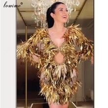Женское коктейльное платье русалка, золотистое платье с блестками и открытой спиной, вечерние платья для выпускного вечера из Дубая