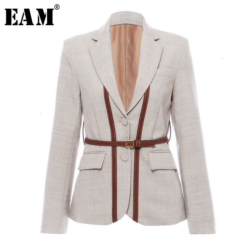 [EAM]  Women Split Pu Leather Brief Short Blazer New Lapel Long Sleeve Loose Fit  Jacket Fashion Tide Spring Autumn 2020 1K458