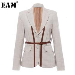 [EAM] calzoncillos muy cortos de cuero Pu para mujer chaqueta solapa nueva manga larga suelta moda marea primavera otoño 2020 1K458