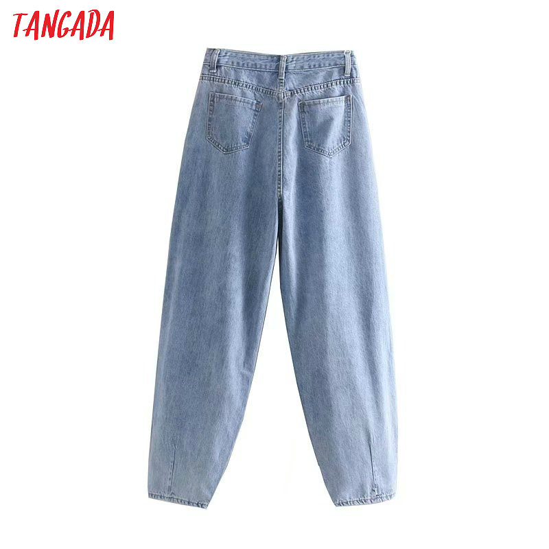 Tangada fashion women loose mom jeans long trousers pockets zipper loose streetwear female blue denim pants 4M38 39