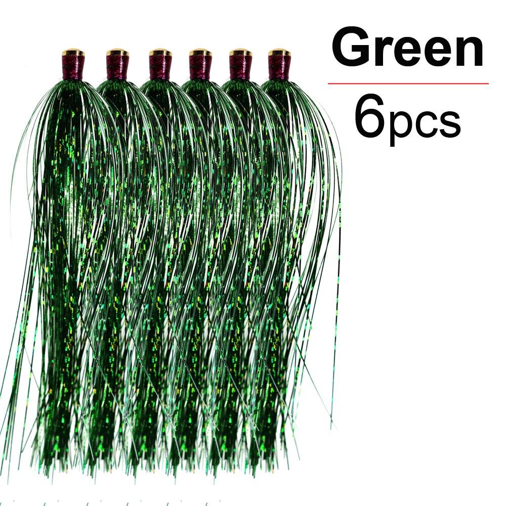 ICERIO 6 шт. латунная скользящая трубка стример Голографическая мишура мигалка Прорезыватель форель рыболовные приманки снасти - Цвет: Green-6pcs