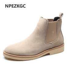 Men Chelsea Boots Ankle Cow Suede Genuine Leather shoes Men Boots Autumn Winter Boots Big Size 38-47