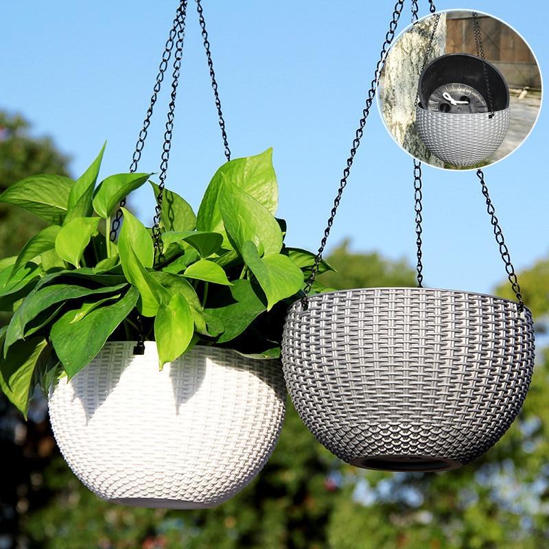 Rattan Hanging Basket Plastic Nursery Flower Pot Hanging Garden Storage Pot Home Decor