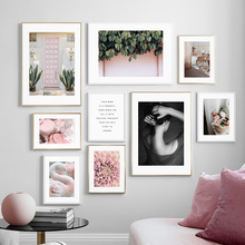 Wall Art Girl Pink Swan Flower Peony Leaf Canvas Painting Quotes Nordic Posters And Prints Wall Pictures For Living Room Decor fashion perfume flower quotes wall art canvas painting nordic posters and prints wall pictures for living room girl salon decor
