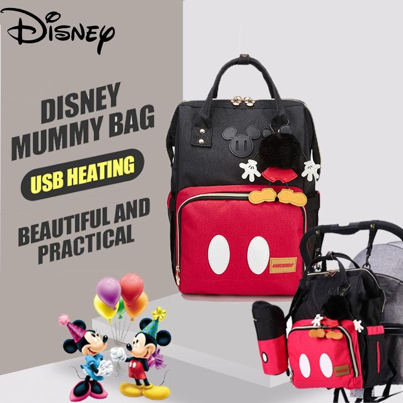 Disney Minnie Mickey Baby Diaper Bag USB Waterproof Fashion Mummy Maternity Nappy Bag Large Capacity Nappy Bag Backpack Cartoon