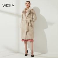 Wixra Damen Faux Leder Lange Mäntel Femme Taschen Weiche Nerz Frauen Trendy Street Style Lose Kurze Outwear Winter