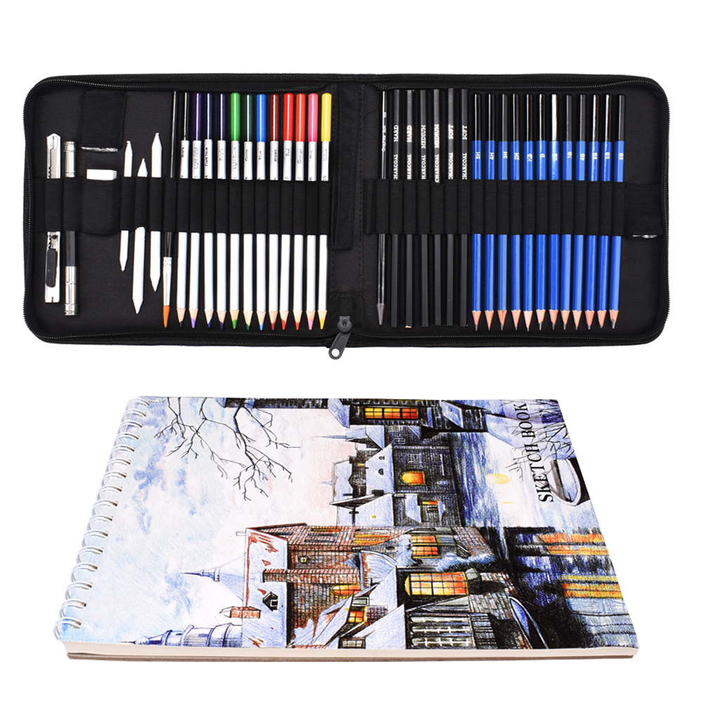 41PCS Drawing Pencils Set Sketching Watercolor Pencils Premium Art Supplies With Carrying Case Sketch Book For Kids Beginners