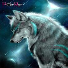 Алмазная живопись «сделай сам» мозаика вышивка волк ночная стрельба