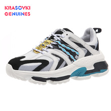 Krasovki Genuines Sneakers Women Autumn Fashion Dropshipping Mixed Colors Thick Bottom Breathable Fabric Leisure Shoes