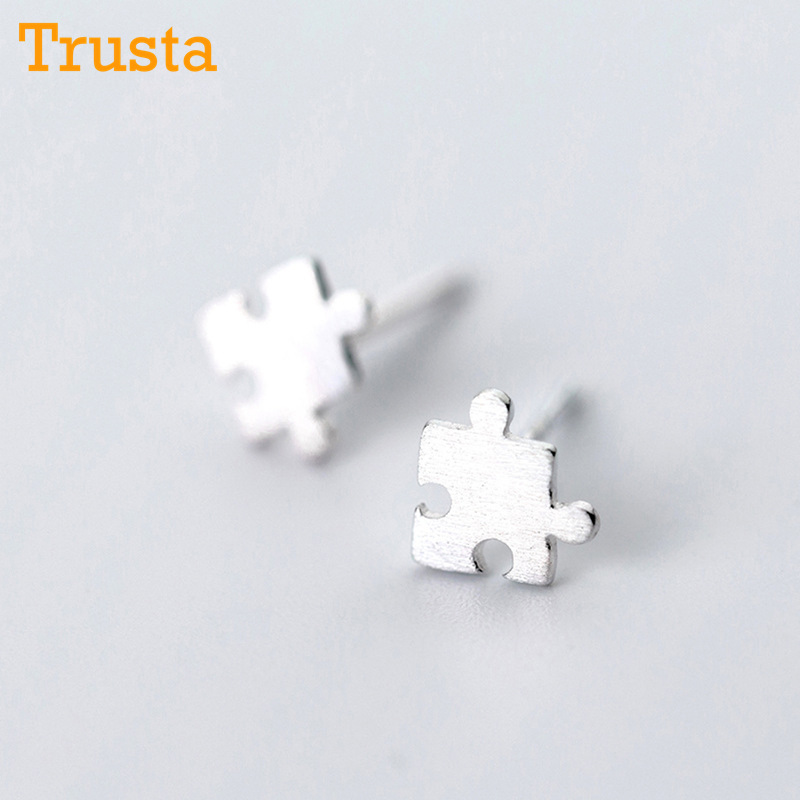 Trusta 100% 925 Sterling Silver Jewelry Fashion Cute Tiny 6mmX6mm Creative Puzzle Stud Earrings Gift For Girls Kids Lady DS419