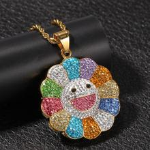 Europe and America hip hop Necklace Jewelry neutral gold inlaid Sun Flower Pendant large chain