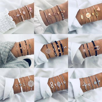 2020 New Rose Gold Color Bracelets Bangles for Women Bohemian Round Beaded Charm Bracelet Set Fashion Multilayer Accessories