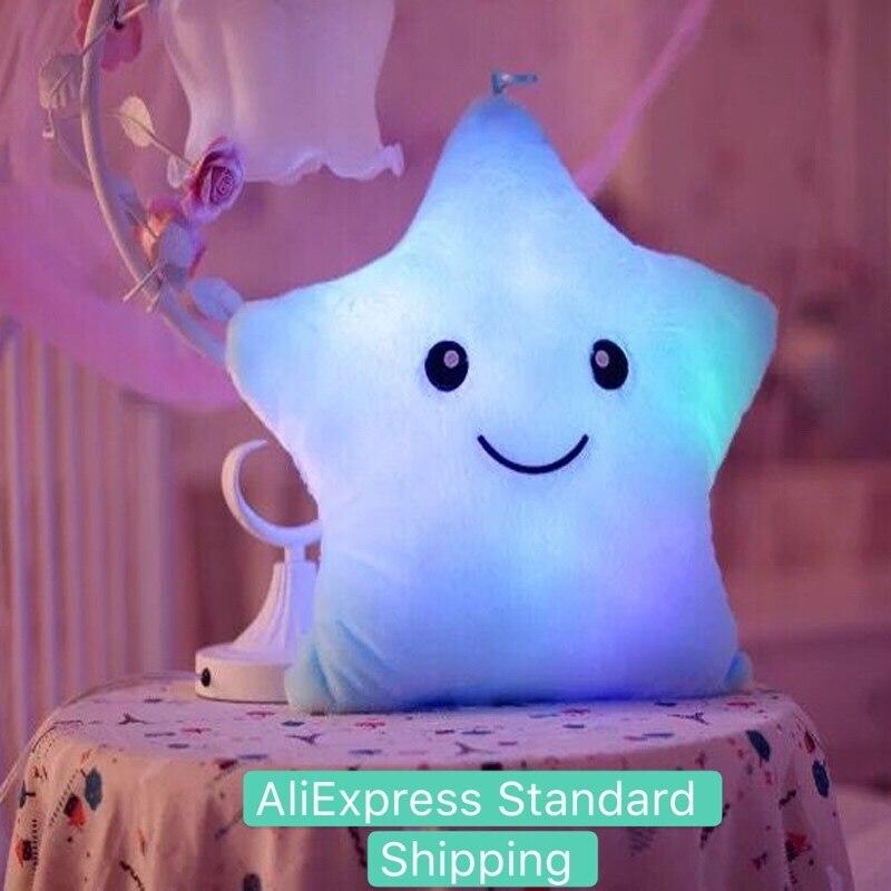 Creative Toy Luminous Pillow Soft Stuffed Plush Glowing Colorful Stars Cushion