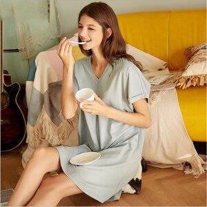 Image 5 - 2020 Summer Female Casual Sleepshirt Ladies Mo Cotton Nightgown Women Short Sleeve V neck collar sleepwear dress Plus size XXL