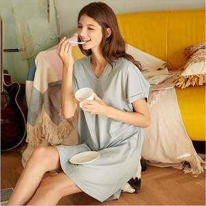 Image 5 - 2020 ฤดูร้อนหญิง Sweety Lace Sleepwear LADIES ชุดนอนผ้าฝ้ายผู้หญิงสั้นแขนยาวคอชุดนอน PLUS ขนาด XXL