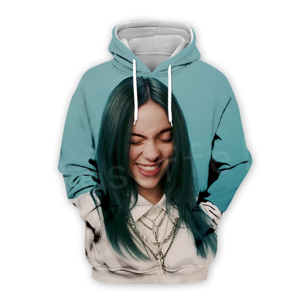 Tessffel Hot Rapper Billie Eilish Face Funny New Fashion Casual Tracksuit 3D Print Hoodie/Sweatshirt/Jacket/Men Women S-1