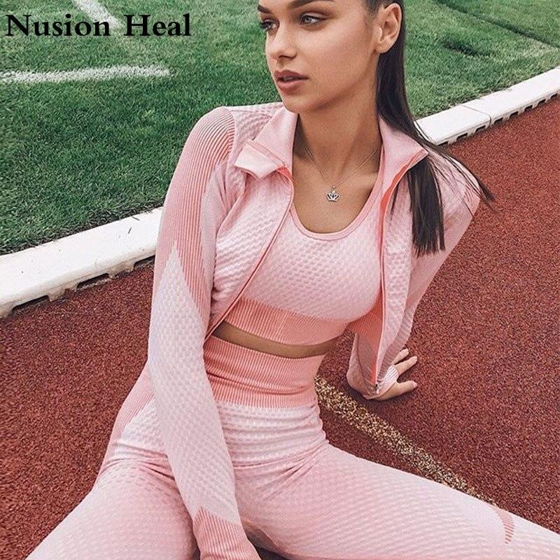 2020 Seamless Yoga Suit 2 Piece Sports Crop Top Seamless Leggings Sport Set Gym Clothes Fitness Tracksuit Workout Yoga Set Femme