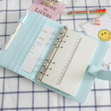 Cute A5/A6 Leather Notebook Cover Loose Leaf Refill Spiral Binder Kawaii Stationary Papelaria Planner Diary Replacement Cover ppyy new a5 weekly monthly planner diary classic loose leaf ring binder notebook cover blue