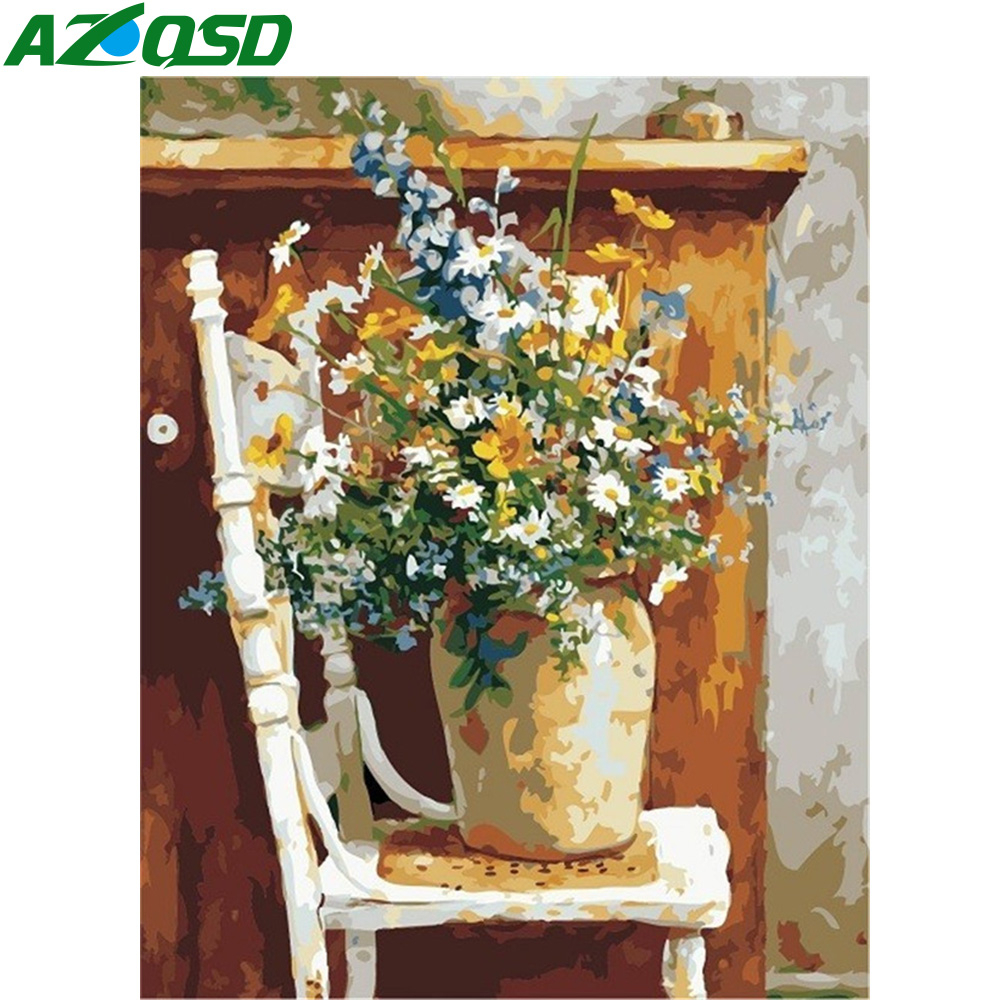 AZQSD DIY Paint By Numbers Canvas Painting Kits Flower Oil Painting By Numbers Vase Home Decoration 40X50cm Art Drawing