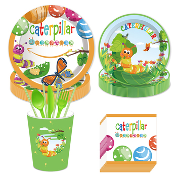 Caterpillar Evolution Butterfly Baby Shower Party Decorations Kids Happy Birthday Party Favors Disposable Tableware Sets