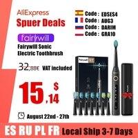 Fairywill-cepillo de dientes eléctrico sónico para adulto, FW-507 recargable por USB, resistente al agua, 8 cabezales de repuesto