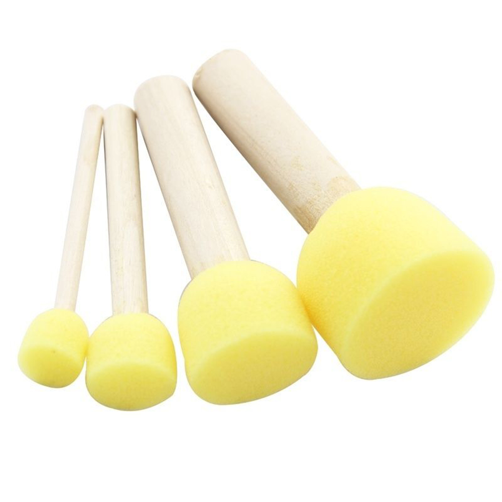 Sponge Foam Brush Multifuntional Wooden Handle 4pcs/Lot Furniture Crafts Sponge Painting Brush Stationery Stenciling