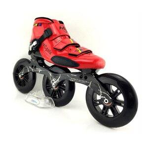 Image 3 - JAPY Glas Faser Stiefel Professionelle Geschwindigkeit Inline Skates Frauen Männer 3*125MM Räder Wettbewerb Roller Skating Schuhe Racing patines