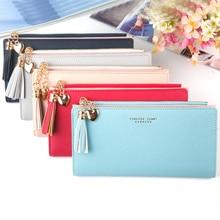 New Long Wallet Ladies Multi-card Seat Button Clutch Purse Women Pull Tassel Chain Mobile Phone Bag Female Wallets
