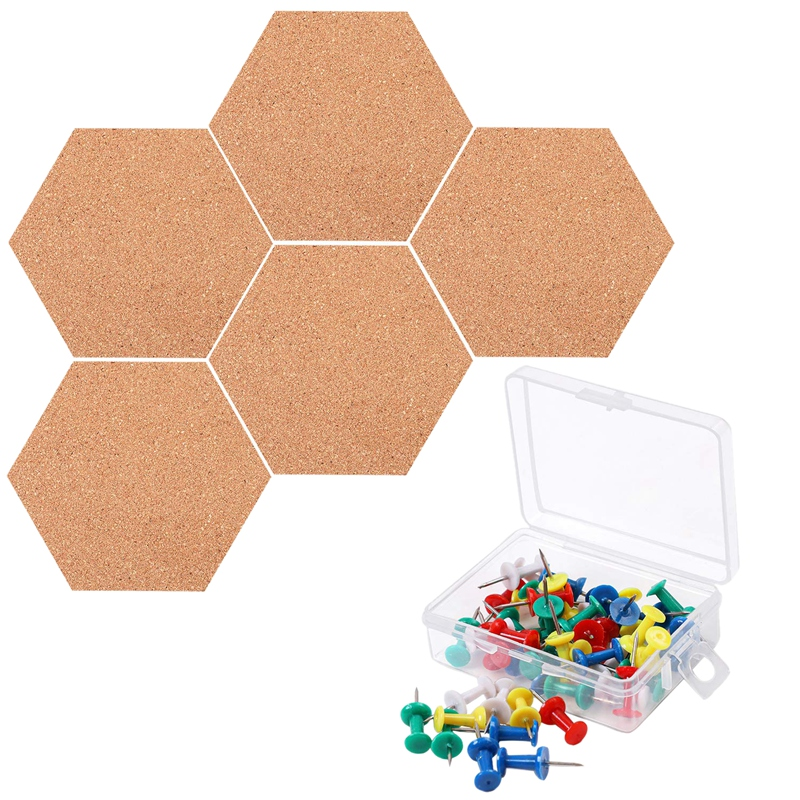 5 Pack Hexagon Cork Board With 50 Pieces Pins Self Adhesive DIY Notice Board Mini Wall Bulletin Boards For Pictures Photos Drawi