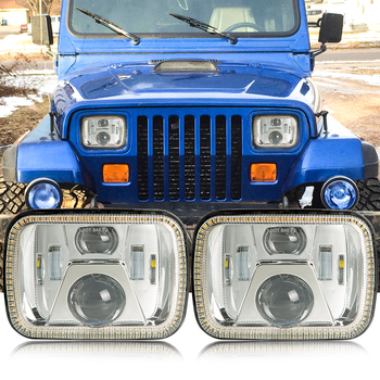110W 7X6 5X7 LED Headlight  White DRL Amber Turn Signal For Jeep Wrangler YJ Cherokee XJ Trucks H4 LED Square Headlights