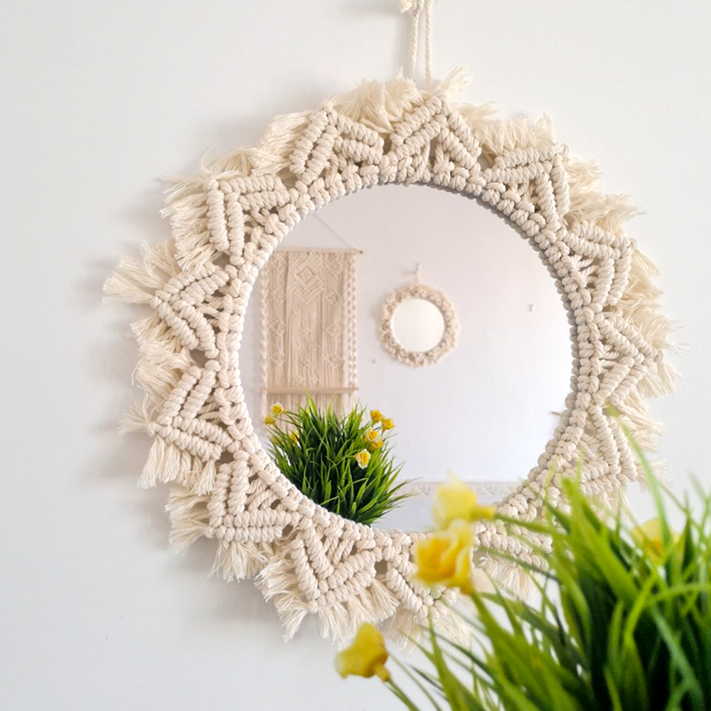Macrame Mirror Handmade Makeup Mirror Lighted Compact Wall Tapestry Home Porch Mirrors For Home Makeup Bath Room