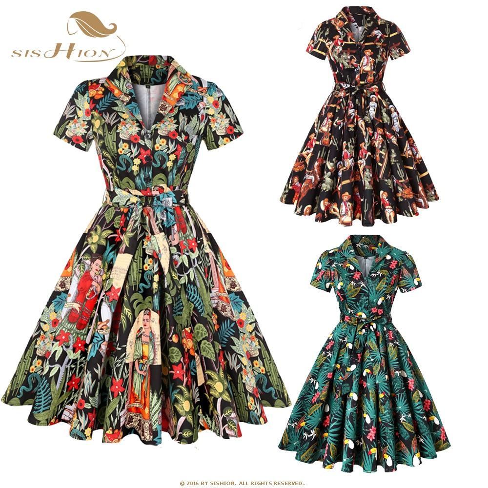 SISHION Autumn Cotton Vintage Dress SD0002 Short Sleeve 4XL Plus Size Swing 50S Retro Toucan Floral Print Rockabilly Dresses