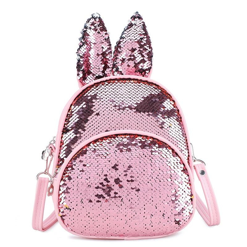 Children Fashion Small School Bag Kids Rabbit Ears Sequin Backpack Lovely Rucksack Kindergarten Girls Crossbody Backpack