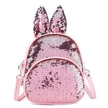 Children Fashion Small School Bag Kids Rabbit Ears Sequin Ba