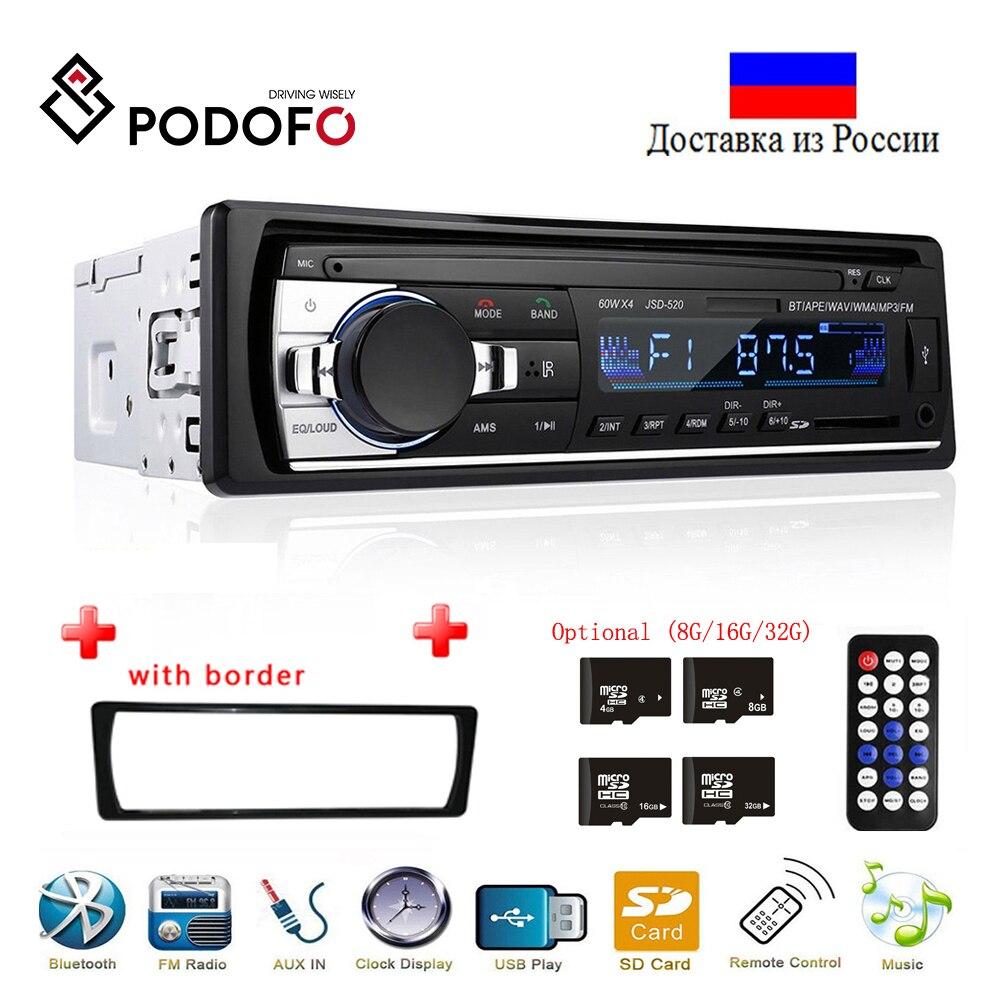 Podofo Autoradio JSD-520 12V In-dash 1 Din Bluetooth Autoradio SD lecteur MP3 Auto Audio stéréo récepteur FM entrée Aux