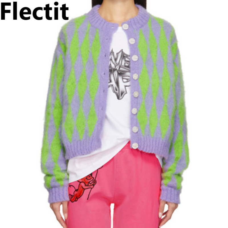 Flectit Green And Purple Argyle Mimi Cardigan Long Sleeve Button Cardigan Sweater Mohair Knit Top Ladies Outfits