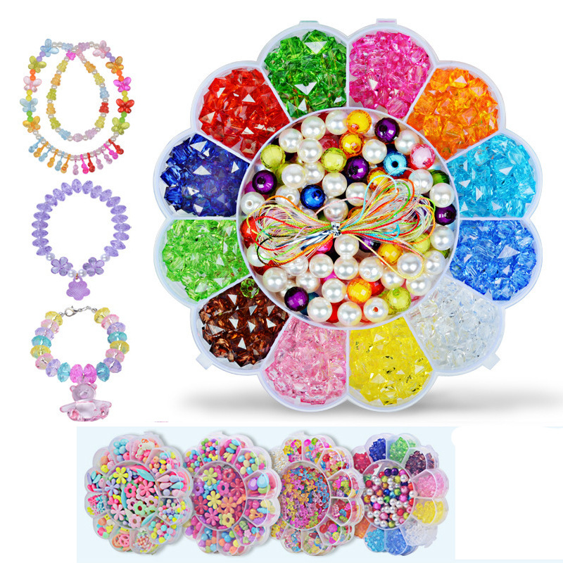 Handmade Creative Beaded Bracelet Children'S Educational Toy DIY Acrylic Plum-Shaped Gift Box Manufacturers Wholesale