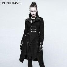 PUNK RAVE Gothic Patch Arbeit Woolen Frauen Mäntel Punk Asymmetrische Lange Schwarz Winter Weiblichen Mantel PU Leder Nähte Jacken Mantel