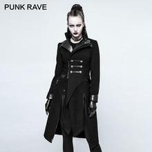 PUNK RAVE Gothic Patch Workขนสัตว์ผู้หญิงเสื้อPunkยาวไม่สมมาตรสีดำฤดูหนาวหญิงPUหนังเย็บเสื้อแจ็คเก็ตCoat