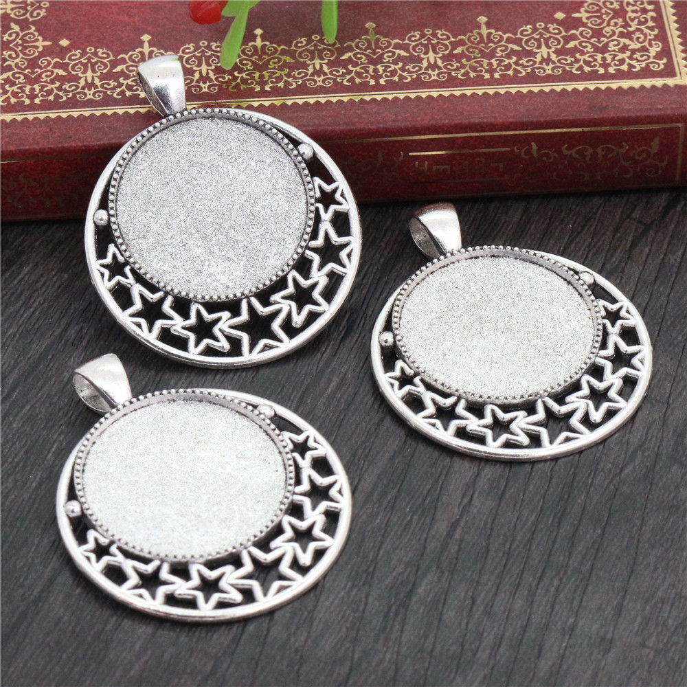 New Fashion 5pcs 25mm Inner Size Antique Silver Plated Pierced Stars Cabochon Base Setting Charms Pendant (A4-21)