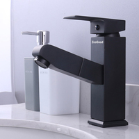 Zesgood All Copper Drawing Type Tap Freedom Pull Design Basin Hot And Cold Taps Bathroom Faucets Water Taps With Hot & Cold Hose