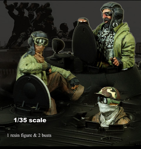 1/35  Ancient Tank Crew (1 Figure & 2 Busts) (NO TANK ) Stand Resin Figure Model Kits Miniature Gk Unassembly Unpainted