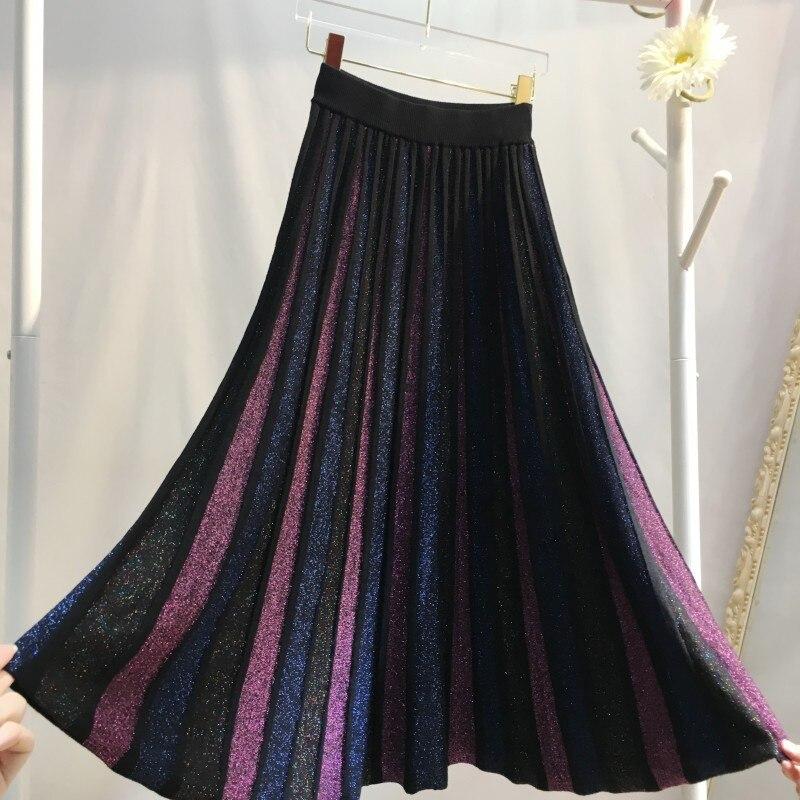 2019 High Waist Colorful Knitted Women Winter A-Line Long Skirt Chic Women Vintage Pleated Skirt Faldas Jupe Femme Saia
